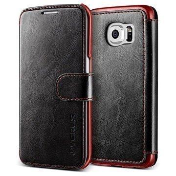 Samsung Galaxy S6 Edge Verus Layered Dandy Series Lompakkokotelo Musta / Viininpunainen
