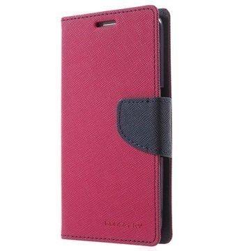 Samsung Galaxy S6 Mercury Goospery Fancy Diary Lompakkokotelo Kuuma Pinkki / Musta