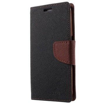 Samsung Galaxy S6 Mercury Goospery Fancy Diary Lompakkokotelo Musta / Ruskea
