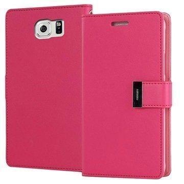 "Samsung Galaxy S6 Mercury Goospery Rich Diary lompakkokotelo â"" Kuuma Pinkki"