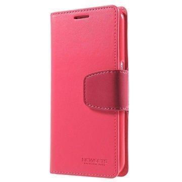 Samsung Galaxy S6 Mercury Newsets Lompakkokotelo Kuuma Pinkki