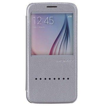 Samsung Galaxy S6 Momax Haute Couture Läppäkotelo Hopeinen