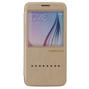 Samsung Galaxy S6 Momax Haute Couture Läppäkotelo Kultainen