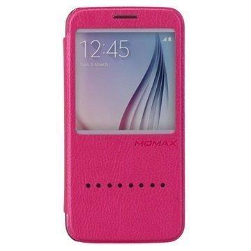 Samsung Galaxy S6 Momax Haute Couture Läppäkotelo Kuuma Pinkki