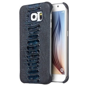 Samsung Galaxy S6 Qialino Leather Coated Hard Case Ostrich Skin Blue