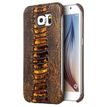 Samsung Galaxy S6 Qialino Leather Coated Hard Case Ostrich Skin Brown