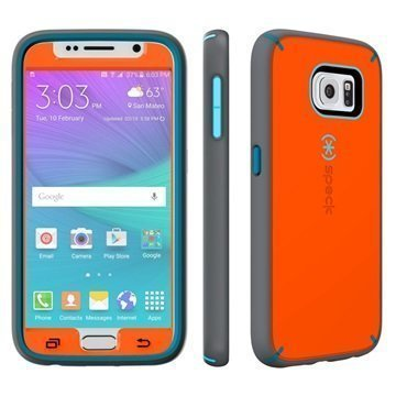 Samsung Galaxy S6 Speck MightyShell Faceplate Kotelo Oranssi / Liuskekivi Harmaa