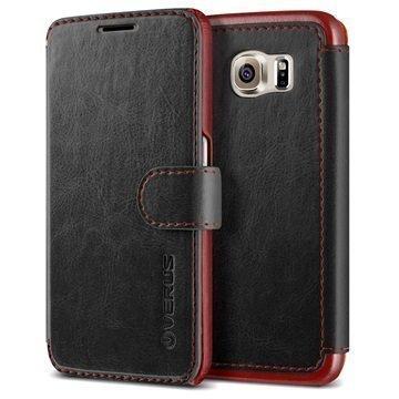 Samsung Galaxy S6 Verus Layered Dandy Series Lompakkokotelo Musta / Viininpunainen