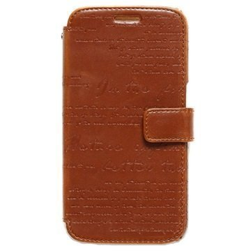 Samsung Galaxy S6 Zenus Masstige Lettering Diary Kotelo Ruskea