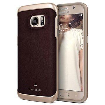 Samsung Galaxy S7 Caseology Envoy Nahkainen Suojakuori Hiilikuitu Kirsikkatammi / Kulta