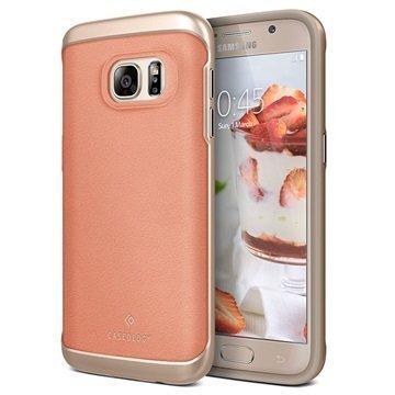 Samsung Galaxy S7 Caseology Envoy Nahkainen Suojakuori Hiilikuitu Pinkki / Kulta