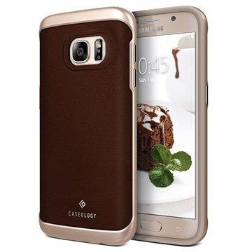 Samsung Galaxy S7 Caseology Envoy Nahkainen Suojakuori Hiilikuitu Ruskea / Kulta