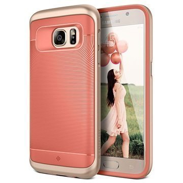 Samsung Galaxy S7 Caseology Wavelength Series Hybridi Suojakuori Korallinpunainen / Kulta