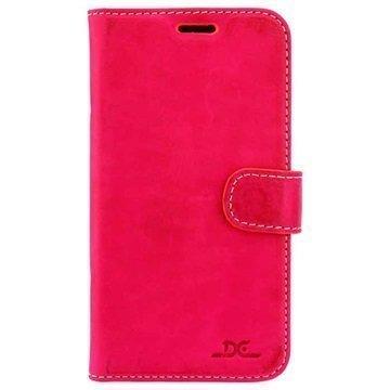 Samsung Galaxy S7 DC Luka Nahkainen Lompakkokotelo Kuuma Pinkki