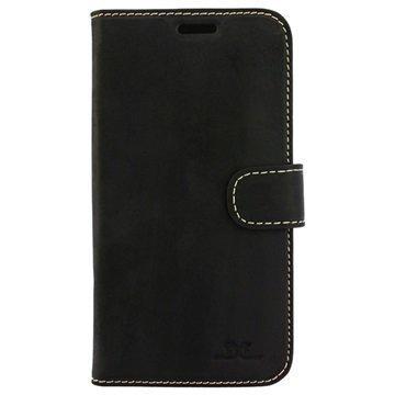 Samsung Galaxy S7 DC Luka Nahkainen Lompakkokotelo Matta Musta