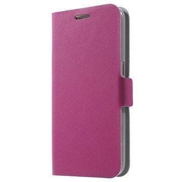 Samsung Galaxy S7 Doormoon Nahkainen Lompakkokotelo Kuuma Pinkki