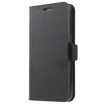 Samsung Galaxy S7 Doormoon Nahkainen Lompakkokotelo Musta