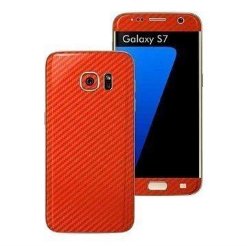 Samsung Galaxy S7 EasySkinz Textured Carbon Fibre Skin Punainen