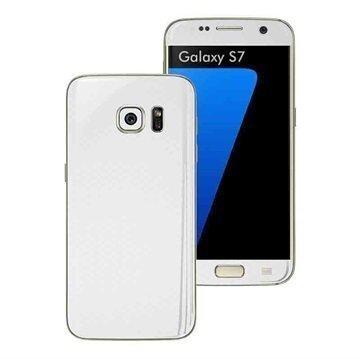 Samsung Galaxy S7 EasySkinz Textured Carbon Fibre Skin Valkoinen