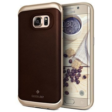 Samsung Galaxy S7 Edge Caseology Envoy Series Leather Case Brown / Gold
