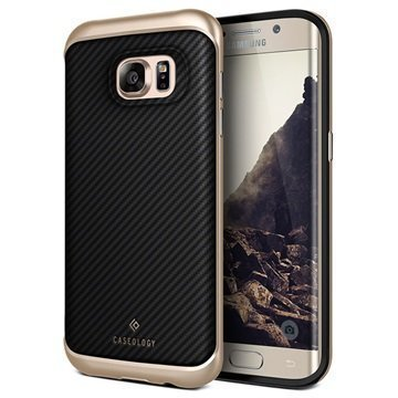 Samsung Galaxy S7 Edge Caseology Envoy Series Leather Case Carbon Fiber Black / Gold