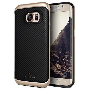 Samsung Galaxy S7 Edge Caseology Envoy Series Leather Case Carbon Fiber Black / Gold