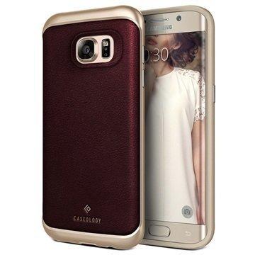 Samsung Galaxy S7 Edge Caseology Envoy Series Leather Case Cherry Oak / Gold