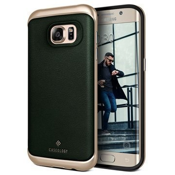 Samsung Galaxy S7 Edge Caseology Envoy Series Leather Case Green / Gold