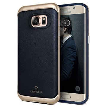 Samsung Galaxy S7 Edge Caseology Envoy Series Leather Case Navy Blue / Gold