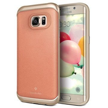 Samsung Galaxy S7 Edge Caseology Envoy Series Leather Case Pink / Gold