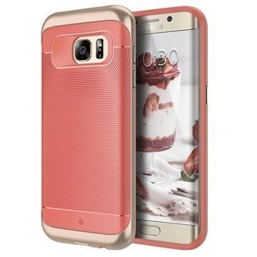 Samsung Galaxy S7 Edge Caseology Wavelength Kotelo Korallinpunainen / Kulta