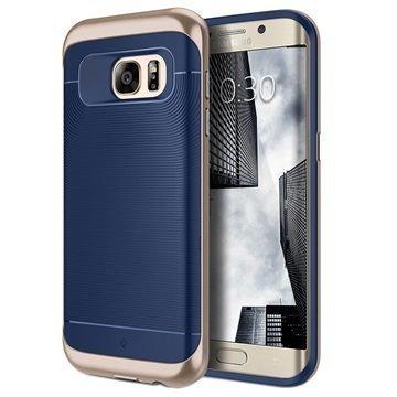 Samsung Galaxy S7 Edge Caseology Wavelength Kotelo Laivastonsininen / Kulta