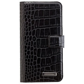 Samsung Galaxy S7 Edge Commander Book & Cover Kotelo Croco Musta
