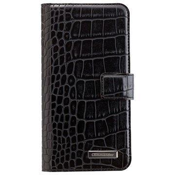 Samsung Galaxy S7 Edge Commander Book & Cover Kotelo Croco Musta