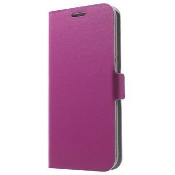 Samsung Galaxy S7 Edge Doormoon Nahkainen Lompakkokotelo Kuuma Pinkki