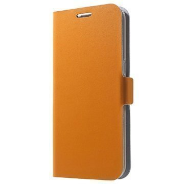 Samsung Galaxy S7 Edge Doormoon Nahkainen Lompakkokotelo Oranssi