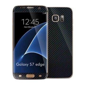 Samsung Galaxy S7 Edge EasySkinz Kuvioitu Hiilikuitukalvo Musta
