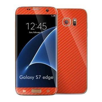 Samsung Galaxy S7 Edge EasySkinz Kuvioitu Hiilikuitukalvo Punainen