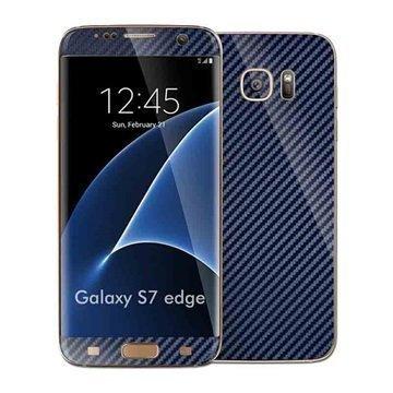 Samsung Galaxy S7 Edge EasySkinz Kuvioitu Hiilikuitukalvo Tummansininen