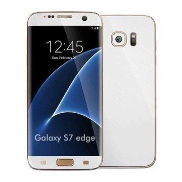 Samsung Galaxy S7 Edge EasySkinz Kuvioitu Hiilikuitukalvo Valkoinen