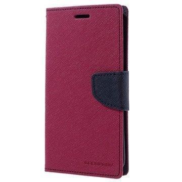 Samsung Galaxy S7 Edge Mercury Goospery Fancy Diary Lompakkokotelo Kuuma Pinkki / Tummansininen