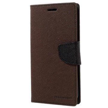 Samsung Galaxy S7 Edge Mercury Goospery Fancy Diary Lompakkokotelo Ruskea / Musta