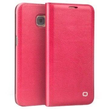 Samsung Galaxy S7 Edge Qialino Classic Lompakkomallinen Nahkakotelo Kuuma Pinkki