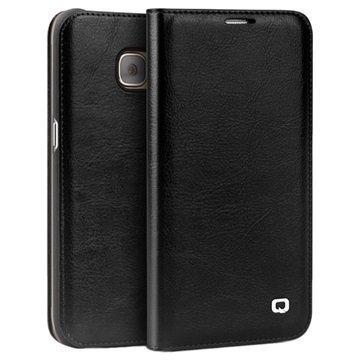 Samsung Galaxy S7 Edge Qialino Classic Lompakkomallinen Nahkakotelo Musta