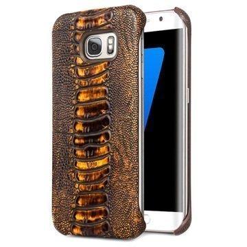 Samsung Galaxy S7 Edge Qialino Nahkapinnoitettu Kova Suojakuori Strutsinnahka Ruskea