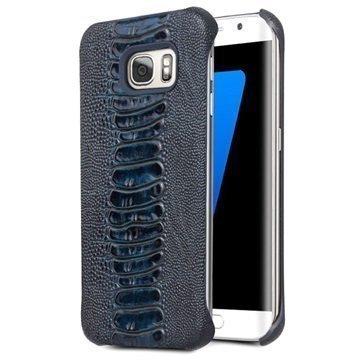 Samsung Galaxy S7 Edge Qialino Nahkapinnoitettu Kova Suojakuori Strutsinnahka Sininen