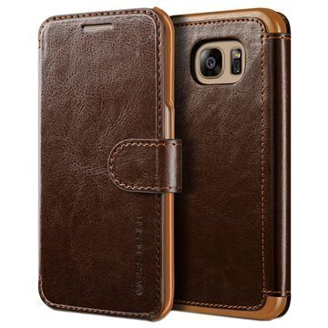 Samsung Galaxy S7 Edge VRS Design Layered Dandy Lompakkokotelo Kahvi / Vaaleanruskea