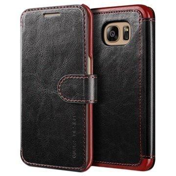 Samsung Galaxy S7 Edge VRS Design Layered Dandy Lompakkokotelo Musta / Viininpunainen