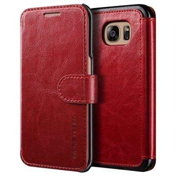 Samsung Galaxy S7 Edge VRS Design Layered Dandy Lompakkokotelo Viininpunainen / Musta