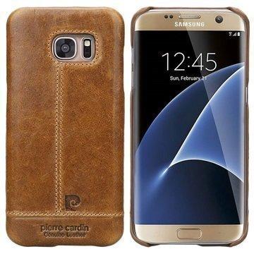 Samsung Galaxy S7 Pierre Cardin Nahkapintainen Suojakuori Ruskea